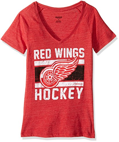 Reebok NHL Detroit Red Wings Women's Iced Lines Tri-Blend V-Neck Tee, Small, Red