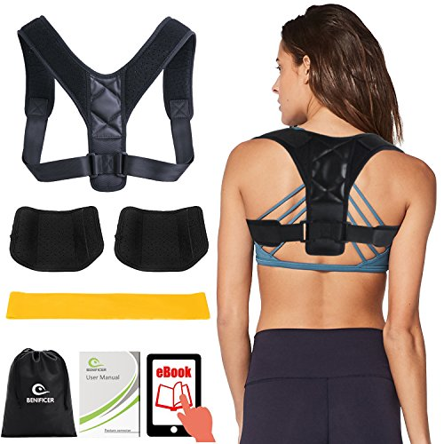 Back Pain Poster - Posture Corrector for Women Men by Benificer, Effective and Comfortable Adjustable Posture Correct Brace - Posture Brace - Clavicle Support Brace - Posture Support - Upper Back Pain Relief