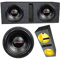 2 American Bass XFL1222 12 2 Ohm 4000W MAX Dual Enclosed Car Subwoofers & Box