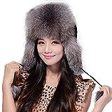 Fur Story Women's Trapper Hat with Real Fur Earmuffs Warm Winter Fur Hat 060101 Silver Fox