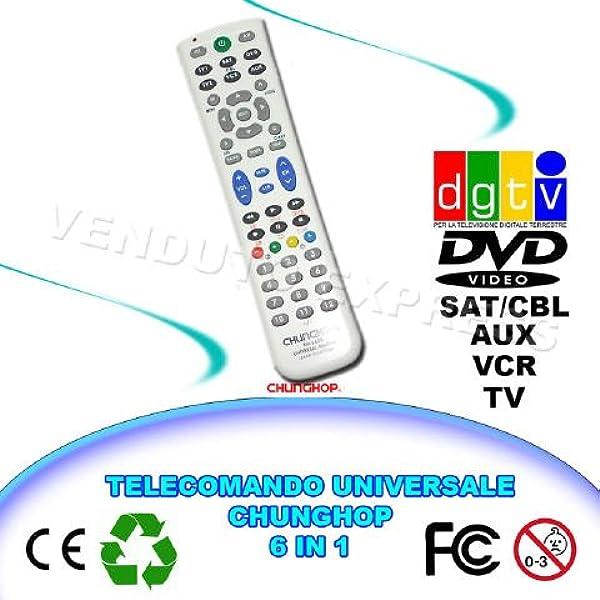 663009 - Mando a distancia universal 6 en 1 Chunghop RM-L688 TV VCR Dvd AUX DGTV SAT: Amazon.es: Electrónica