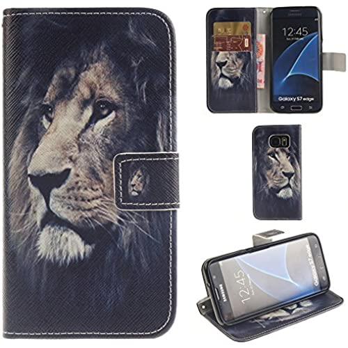 Ooboom Samsung Galaxy S7 Edge Case PU Leather Flip Cover Wallet Stand with Credit Card Slots Cash Holder Pouch Magnetic Clasp for Samsung Galaxy S7 Edge - Lion Sales