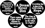 """Set of 5 MARTIN LUTHER KING JR QUOTES 1.25"""" Pinback Buttons Black History Month MLK"""