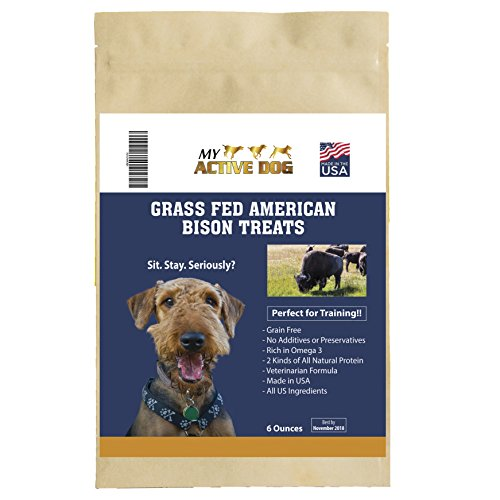 Bison Grass - My Active Dog Treats-Grass-Fed Bison-Premium All-Natural Grain Free-Limited Ingredients-2 Proteins-Sourced and Made in USA-Slow Roasted Crunchy Chunks-Best For Training, Health and Wellness Diet