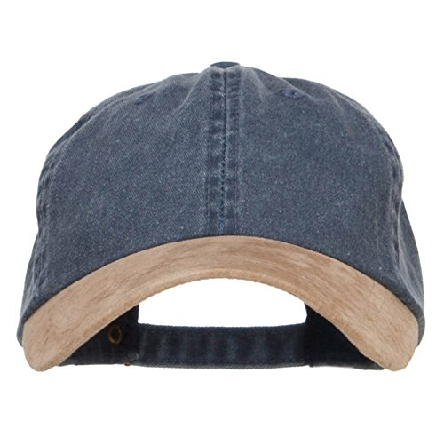 Suede Bill Washed Pigment Dyed Cap - Navy Tan OSFM