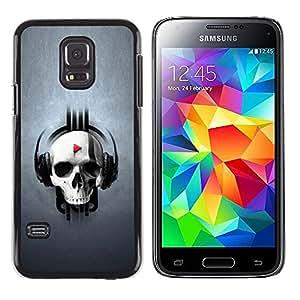 ROKK CASES / Samsung Galaxy S5 Mini, SM-G800, NOT S5 REGULAR! / SKULL MUSIC PLAY / Delgado Negro Plástico caso cubierta Shell Armor Funda Case Cover