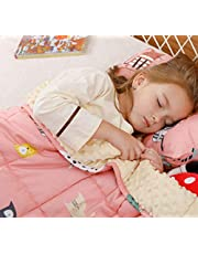 BUZIO Kids Weighted Blanket 5 lbs, Ultra Cozy Flannel Minky Dotted and Cotton Sided with Cartoon Patterns, Heavy Blanket Great for Calming and Sleeping, 36x48 inches, Pink Cat