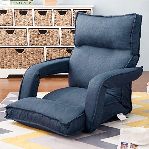 Merax Fabric Folding Sofa Chair Floor Chaise Lounge Gaming Chair (Navy)