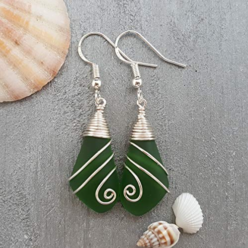 Handmade jewelry from Hawaii, wire swirls Emerald sea glass earrings,