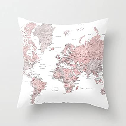 Ashasds Dusty Pink And Grey Detailed Watercolor World Map Fashion  Decoration Throw Pillow Covers For Home Indoor Friendly And Comfortable  Cushion