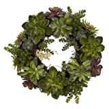 Nearly Natural 4798 Artificial Succulent Wreath, 15-inch diameter, Green