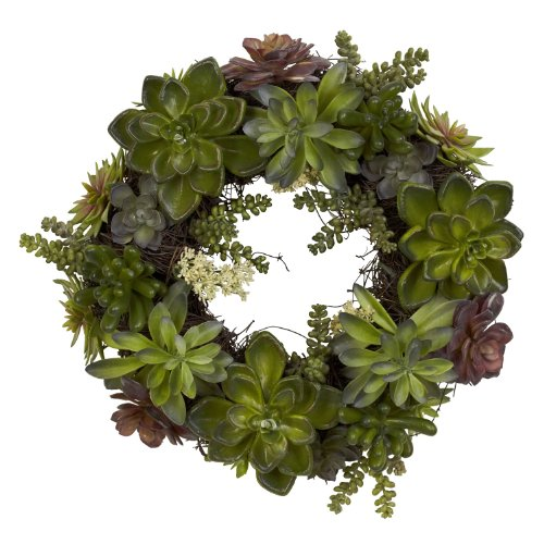Nearly Natural 4798 Artificial Succulent Wreath, 15-inch diameter, Green by Nearly Natural