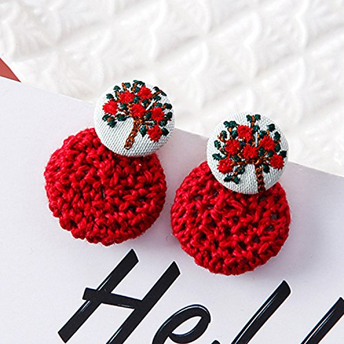 usongs After family name minimalist style knitting wool embroidered flowers earrings hit color button earrings hanging earrings women girls