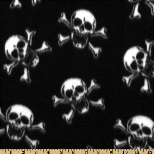 60'' Wide Fleece Skull Crossbones White/Black Fabric By The Yard