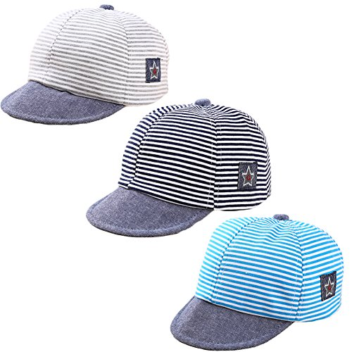DANMY Baby Boy Baseball Cap Striped Sunhat Girl Brim Sun Protection Bow Hat (3PCS (as Shown))