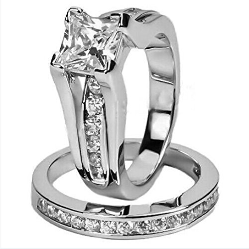 AYT Size 6/7/8/9/10 Women's 14KT White Gold Filled CZ Princess Cut Engagement Wedding Ring Set White Zircon New RW0231-6/7/8/9/10 9.0