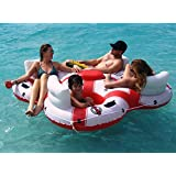 "78"" Solstice Super Chill Quatro 4-Person Inflatable Swimming Pool Float with Cooler"