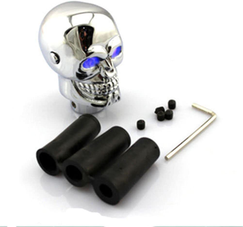 Blue EKYAOMEI Skull Chrome Gear Shift Knob Automatic Transmission/Stick Shifter Lever Head with Red Led Light