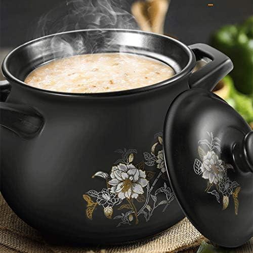 DYXYH Binaural céramique pure marmite à soupe de flamme en céramique marmite à soupe, rond noir plat Casserole, Clay