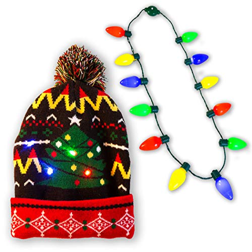 (Holiday LED Light-up Bulb Necklace (12 Bulbs) with LED Light-up Knitted Ugly Sweater Holiday)