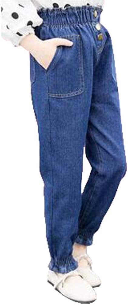 Digirlsor Little Big Kids Girls High Waist Jeans Fashion Casual Denim Pants 3-12 Years