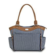 Carter's CA11711 Convertible Tote Diaper Bag Blue & White Ticking Stripe