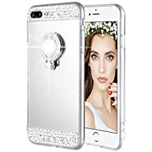 iPhone 7 Plus 8 Plus Case, Caka Rhinestone Series Glitter Luxury Cute Shiny Bling Mirror Makeup Case for Girls with Ring Kickstand Diamond TPU Case for iPhone 7 Plus 8 Plus (Silver)