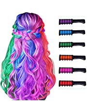 Hair Chalk Comb Temporary Bright Hair Color Dye for Girls Kids,Washable Hair Chalk for Kids Girls Gift Age 4 5 6 7 8 9 10+ for Halloween Cosplay Christmas DIY New Year Birthday Party Children's Day