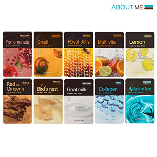 About Me Essential Facial Mask Sheet 22ml Pack of 10, 100% Cotton Sheet