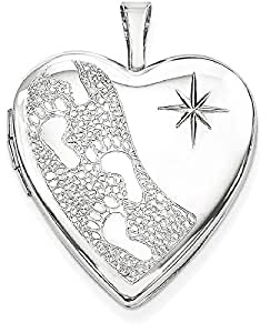 IceCarats 925 Sterling Silver Rhodium Plated 20mm Footprints Heart Locket Necklace That Holds Pictures