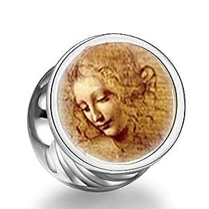 Soufeel 925 de plata de ley de Da Vinci Cuadro de fotos redondo encantos