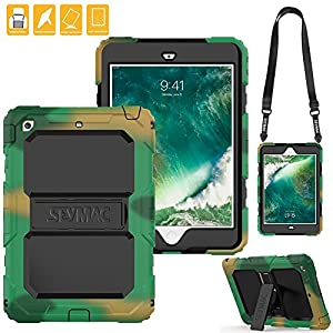 iPad Mini 2 Case, SEYMAC Three Layer Heavy Duty Soft Silicone Hard Bumper Kickstand Shockproof Protective Case [Nylon Shoulder Strap] for iPad Mini 1/ 2/ 3 (Camouflage/Black)