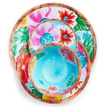Sur La Table Tropical 12-Piece Melamine Dinnerware Set with 4 Bonus Appetizer Plates  sc 1 st  Amazon.com & Amazon.com: Sur La Table Tropical 12-Piece Melamine Dinnerware Set ...