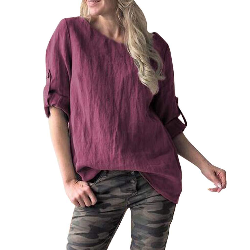 Elsta Damen Baumwolle Leinen T Shirt Plusgröße Einfarbige Knöpfe Oberteile Hoodie Frauen Casual Rundhalsausschnitt Taschen Bluse Lose Langarmshirt Hemd Tuniken