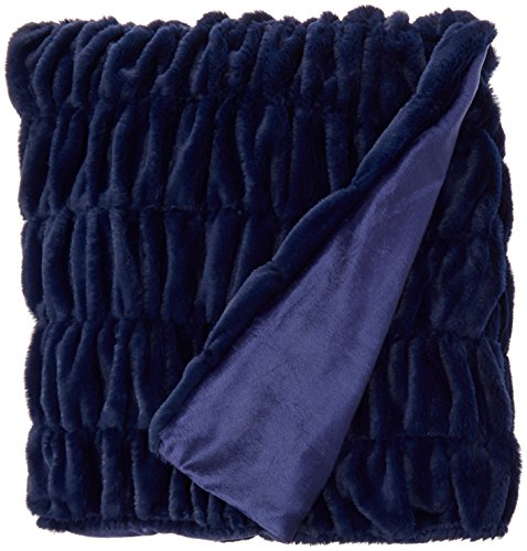 "Chic Home Miera Throw Blanket Cozy Super Soft Ultra Plush Decorative Shaggy Faux Fur with Micromink Backing 50"" x 60"", Navy Blue Velour Blanket"