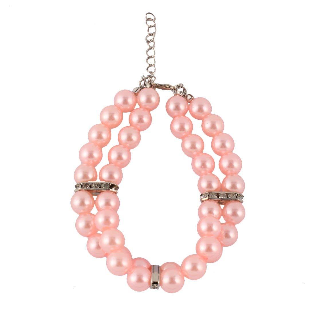 Dog Plastic Three Rows Round Beads Collar Necklace Light Pink