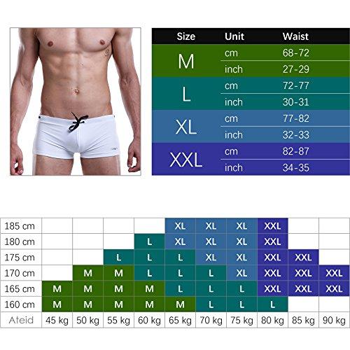 Ateid Herren Badehose kurze Schwimmhose Boxer Badepants, Schwarz XL