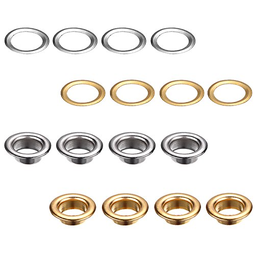 Bememo 1/4 Inch Grommet Kit 100 Sets Grommets Eyelets with 3 Pieces Install Tool Kit, 2 Colors