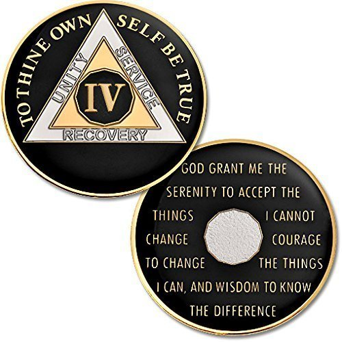 4 Year - AA Chip Proof-like Bronze with Tri-Plate - Gold, Nickel, and Black Enamel - 1 3/8