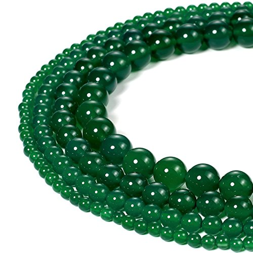 6mm Natural Green Agate Beads Round Loose Gemstone Beads for Jewelry Making Strand 15 Inch (63-66pcs)