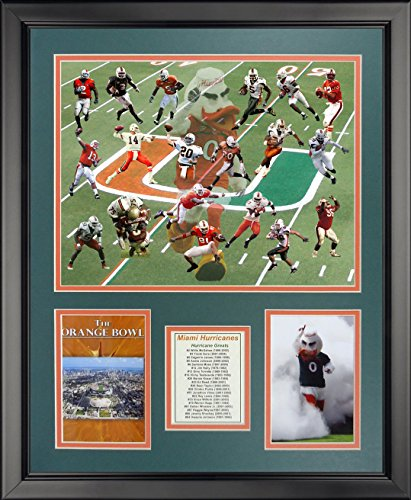 """Legends Never Die NCAA Miami Hurricanes Greats Framed Photo Collage, 18"""" x 22"""""""