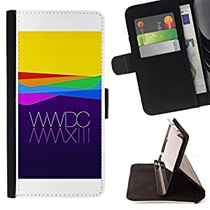 For Sony Xperia Z3 Compact / Z3 Mini (Not Z3) Case , Manzana amarillo púrpura Waves Tecnología- la tarjeta de Crédito Slots PU Funda de cuero Monedero caso cubierta de piel