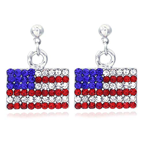 Patriotic Red White Blue American USA Flag Star Dangle Drop Earrings 4th of July Independence Day Gift (Flag Post)