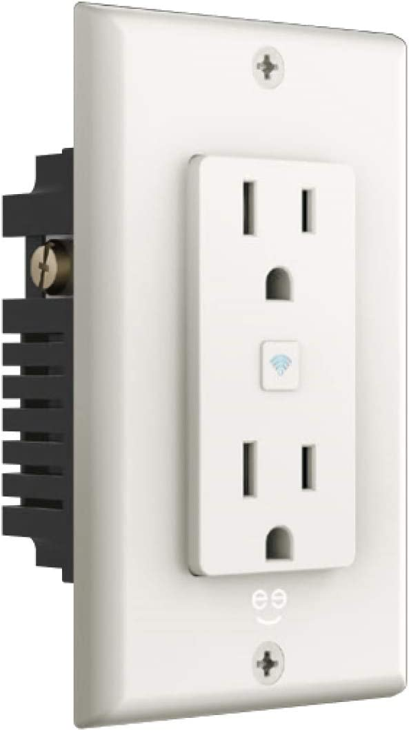 Geeni Smart WiFi 2 Outlet In-Wall Plug – Smart Plug, No Hub Required, Compatible with Alexa, The Google Assistant, White