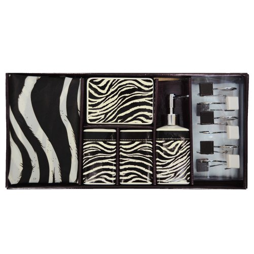 Bathroom accessory set black and white fabric shower for Matching bathroom accessories sets