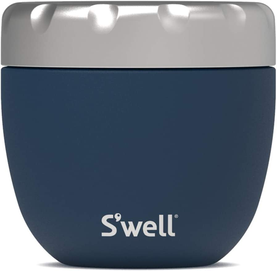 S'well Stainless Steel Food Bowls - 21.5oz - Azurite Eats - Triple-Layered Vacuum-Insulated Containers Keeps Food Cold for 11 Hours and Hot for 7 - Condensation-Free, Leak-Free and Dishwasher-Safe