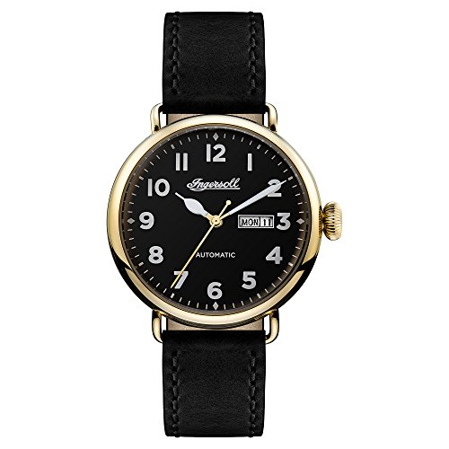 Ingersoll Men's Automatic Stainless Steel and Leather Casual Watch, Color:Black (Model: I03401)
