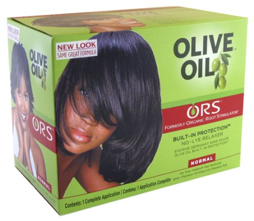 Organic Root Stimulator Olive Oil Relaxer (Normal) (3-Pack) with Free Nail File -