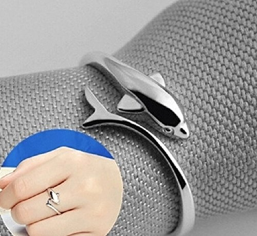 s925 Sterling Silver Rings Women Girls Fox Tail Ring Opening Couple Lover Smart Dolphin Ring Send his Girlfriend Birthday Gift Ring (Cute Dolphin Ring
