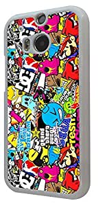 HTC ONE 2 M8 Funky StickerBomb Sticker Bomb Cartoon Design Fashion Trend Design Case Back COVER PLASTIC and METAL *Please Choose The Frame Color From The Drop Box Below* (White) by icecream design